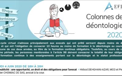 Colonnes de Déontologie 2020 : Intervention sur la publicité des avocats