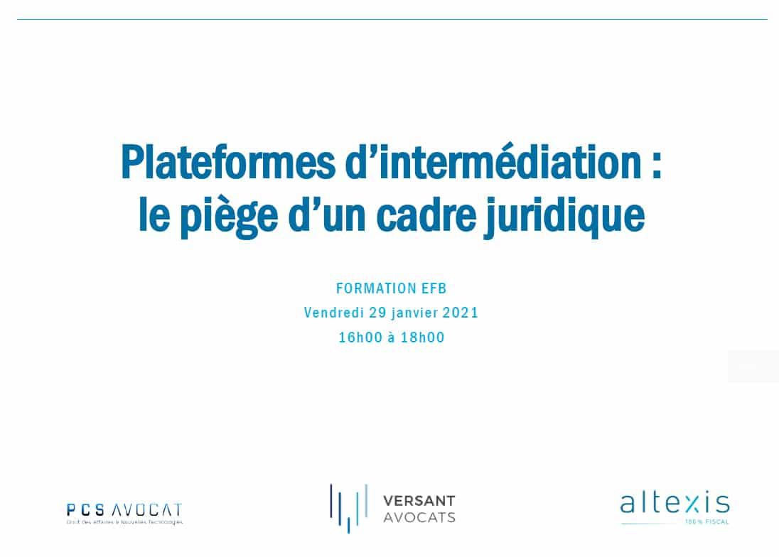EFB Formation - Plateformes d'intermédiation Uber AirBnB Deliveroo