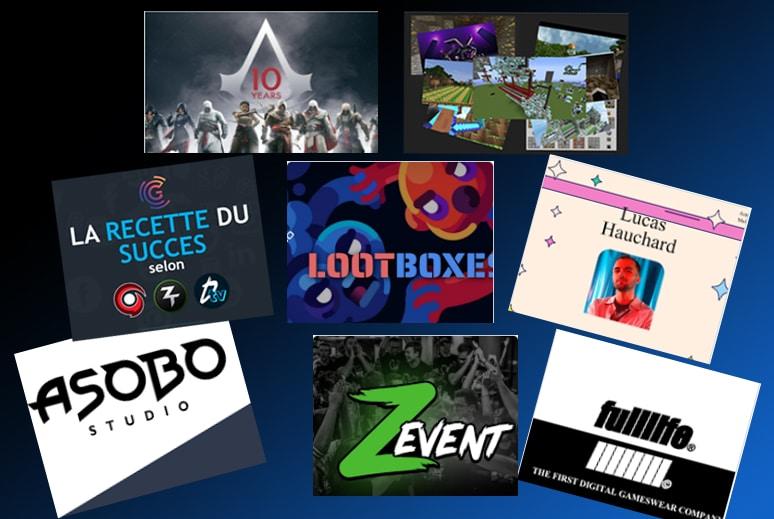 Exemples de sujets préparés par les étudiants de Gaming Campus : Asobo Studio; Assassin's Creed, le ZEvent, Fulllife, Squeezie, Minecraft, les Loot Boxes ou encore les succès comparés de Gotaga, Zerator et Domingo